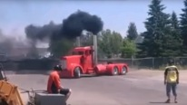 Badass Semi Truck Does Cool Donuts and Burnouts