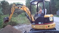 5 & 6 Year Old Boys Operate Cat 303 Excavator and Bobcat Like A Pro