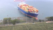 GIANT Container Ship Sails Straight to Shore by University Soccer Field