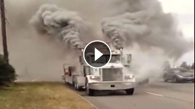 runaway peterbuilt truck engine smoking   erupted volcano