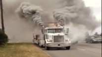 Runaway Peterbuilt Truck Engine Smoking Like An Erupted Volcano