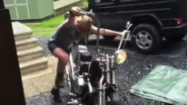 Great bike, Super dad, and Cool Kid! Harley Kick-Starting By 12 Year Old Girl