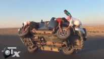 Adrenaline Shot Crazy Arabs Changing Wheels of The Car On The Road