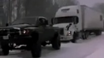 18 Wheeler Stuck In The snow Is Saved By The TOWING Master DODGE CUMMINS