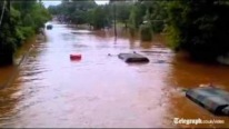 Us Military Truck Drives Through The Deep Flood Waters Of Hurricane Irene In New Jersey