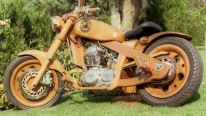Fully functioning motorcycle made of wood!