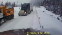 Idiot Semi Driver Almost Causes Head-On Accident With Another Semi By Overtaking On Icy Road
