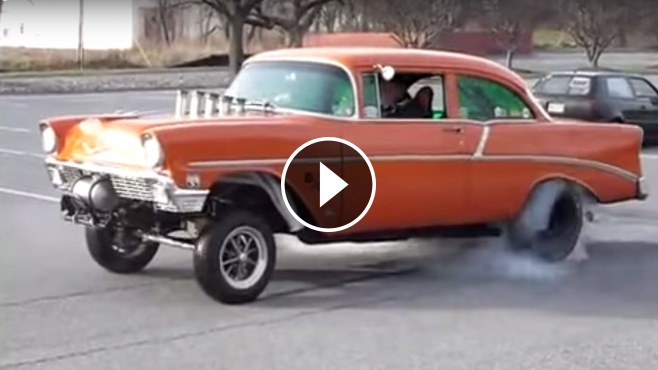 Awesome 56 Chevy Quot Barely Legal Quot Gasser Burnout