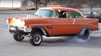 "Awesome 56 Chevy ""Barely Legal"" Gasser Burnout"