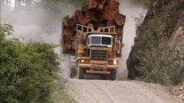 Big Logging Trucks Travelling Western Canada