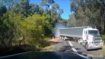 Surviving a Terrific Close Call with a Huge Semi Truck on a Extremely Narrow Road
