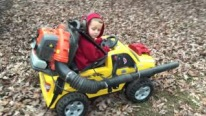 The Perfect Combination of Power Wheels and Leaf Blower Gives Birth to a Cute Little Genius