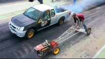 Sickest Drag Race Ever: Kubota Farm Tractor Vs. Mitsubishi Pickup Truck