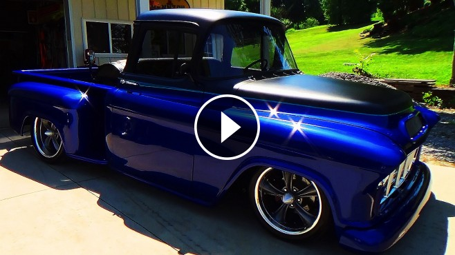 Chevy Muscle Cars >> 55 Chevy Street Truck with an Eye-Pleasing Blue Paint Job