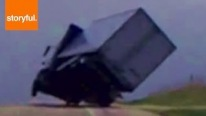 Truck Almost Flipped By Storm Winds!