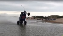Incredible Footage: Badass Sand Car Doing Wheelie on Water