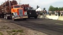 Detroit Diesel Powered Antique Big Rig Logging Truck Drag Race