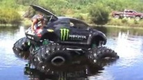 Redneck Style Fun: Monster Beetle with Gigantic Tires Floats on the Pool