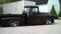 Bagged 1955 Model Chevrolet Hot Rod Truck Is Smokin' Hot!