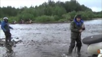 Only in Russia: Insane Russians Cross a Flowing River with a Motorcycle!