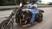 "Absolute American: Badass Mercedes Diesel Rat Rod Motorcycle Changes the Meaning of ""Cool"""