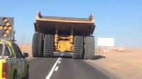 Gigantic Caterpillar 797B Rock Truck Caught on Camera While Cruising on the Road