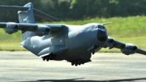 Four Engine Airbus A400M Atlas Military Transport Aircraft Flies Majestically