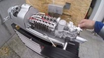 Roaring V16 Engine Mounted on 1/3 Scale R/C Model of Auto Union Type C Racing Car