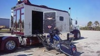 2 in 1: Custom Built Peterbilt Semi-Truck Carries Its Own Harley Davidson Garage