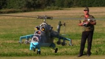 Small Scaled R/C Model of Russian Helicopter Mil Mi-24 Flies Flawlessly
