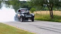 1941 Willys Coupe Doing Some Super Cool Burnouts on the Street