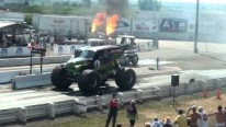 Grave Digger Against Flame-Throwing Shockwave Jet Truck-Must See!!!