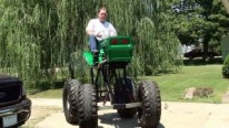 Extraordinary Lawn Mower Lifted with Monster Tires is Cool as Hell!