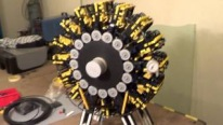 64-Cylinder Radial Engine Built Out of Lego Bricks Runs with Perfect Functionality