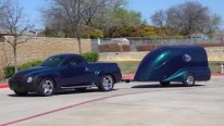 6.0 Liter Powered 2006 Chevrolet SSR Coupled with a Matching Teardrop Motorcycle Trailer
