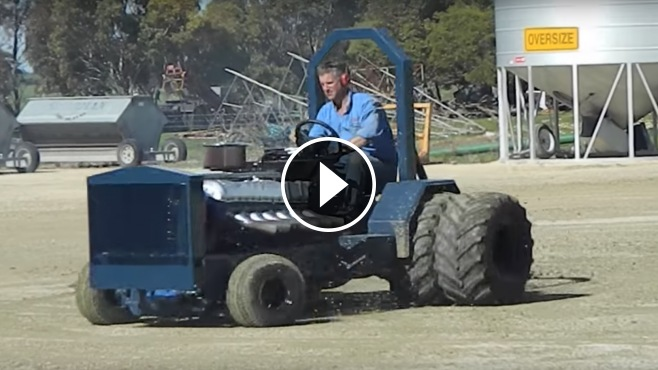 V12 Powered Lawn Mower Does Some Insanely Cool Doughnuts