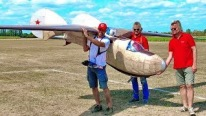 Unbelievable Tremendous XXXL 1:2 Scale R/C Glider Beljajew BP-3 Flight Demonstration