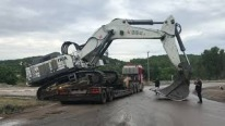 Loading 125-Tonne Liebherr 984 Excavator By Side on a Trailer