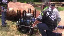 Extremely Powerful V8 Chainsaw Cuts the Huge Log like a Knife Slices a Piece of Cake