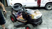 Hot Rod Lawn Tractor with Ultra-Realistic Flame Patterns Makes Some Cool Wheelie Actions