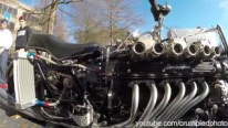 Custom Built Motorcycle Powered by a V12 Lamborghini Engine Caught on Camera at Caffeine and Octane