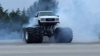 Crazy Monster Truck with Tremendous Tires Makes Some Nasty Burnouts