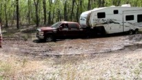 Camping Gone Bad: 4X4 Pickup Truck with Huge Trailer Attached to It Gets Stuck in the Mud!