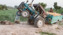 Ford 3610 Tractor With a Heavily Loaded Trolley Gets Stuck