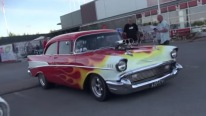 Supercharged V8 Powered 1957 Chevy Bel Air Makes Smoky Burnouts