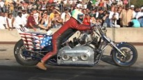 Rider with Cast Iron Balls Performs a Great show with Blown Injected V8 Powered Drag Bike