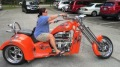 Cool Lady Rides Her Monster V8 Chopper Trike Like a Pro!