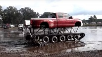 Redneck Dodge Truck With Track Buggy